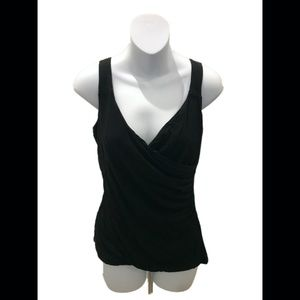 Ann Taylor Loft Black Sleeveless V-Neck Blouse